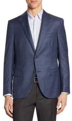 Luciano Barbera Windowpane Wool Soft Jacket
