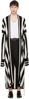 Haider Ackermann Black Striped Long Cardigan $1,750 thestylecure.com