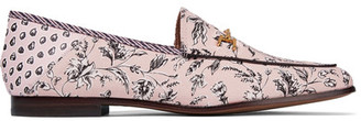Sam Edelman - Loraine Leather-trimmed Printed Canvas Loafers - Antique rose $120 thestylecure.com
