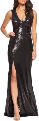 Dress the Population Sandra Plunge Sequin Evening Dress