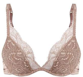 Fleur Of England - Silk Blend And Lace Plunge Bra - Womens - Light Brown