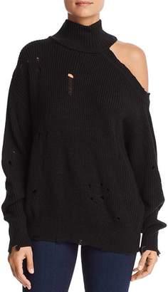 Elan International Distressed Cutout Sweater