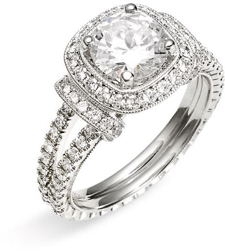 Jack Kelége 'Romance' Cushion Set Diamond Semi Mount Ring