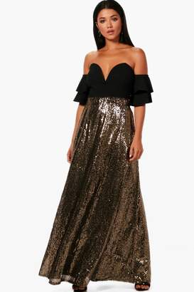 boohoo Boutique Ruby Floor Sweeping Sequin Maxi Skirt