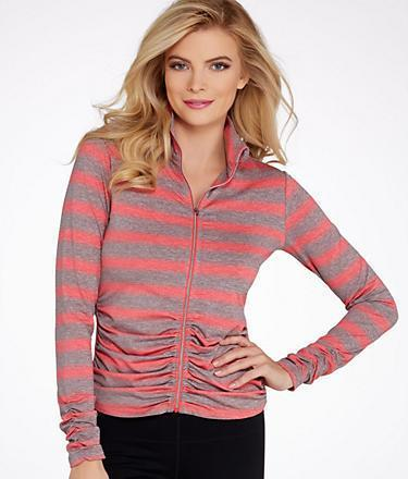 Calvin Klein Performance Striped Ruched Jacket