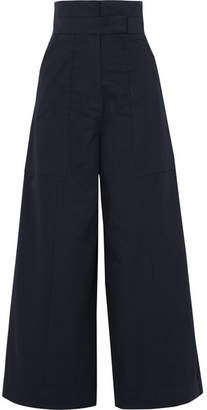 SOLACE London Hestia Cotton-poplin Wide-leg Pants - Navy