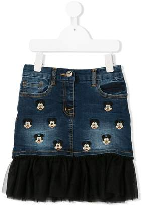 MonnaLisa embroidered Mickey Mouse denim skirt