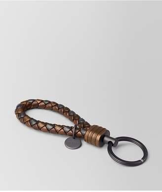 Bottega Veneta Dark Bronze Intrecciato Nappa Key Ring