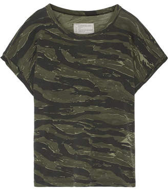 Current/Elliott - The Rolled Crew Camouflage-print Cotton-jersey T-shirt - Green $130 thestylecure.com
