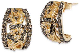 LeVian CORP Le Vian Grand Sample Sale Chocolate Diamonds & Vanilla Diamonds Flower Earrings set in 14K Honey Gold