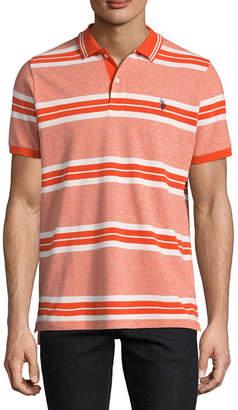 U.S. Polo Assn. USPA Embroidered Short Sleeve Stripe Pique Polo Shirt