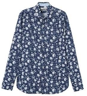Mango man MANGO MAN Floral print italian fabric shirt