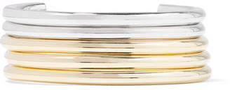 Jennifer Fisher Set Of Five Gold And Silver-plated Cuffs