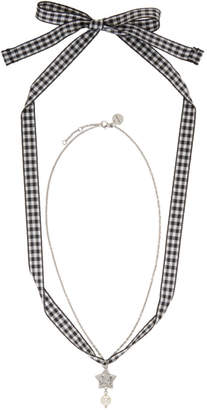 Miu Miu Silver Star and Pearl Charm Necklace