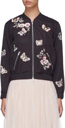 Needle & Thread Butterfly rose embroidered bomber jacket