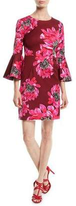 Trina Turk Trumpet-Sleeve Sheath Dress in Macro Floral Print