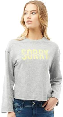 Jacqueline De Yong Womens Abigail Printed Sweatshirt Light Grey Melange