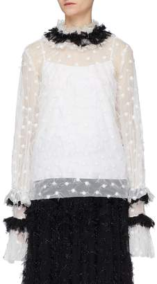 Jourden 'White Twinkle' ruffle collar polka dot embroidered mesh top