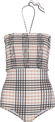 Ganni Leto Shirred Checked Halterneck Swimsuit