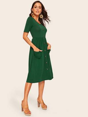 Shein Pocket Patched Single Breasted Hijab Dress