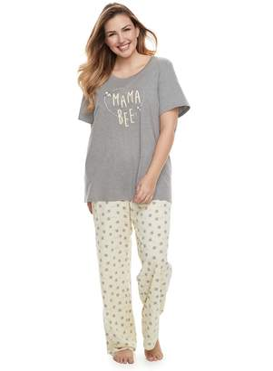 """Plus Size Jammies For Your Families """"Mama Bee"""" Tee & Bottoms Pajama Set"""