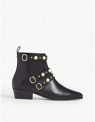 Claudie Pierlot Alegriah pearl-embellished leather ankle boots