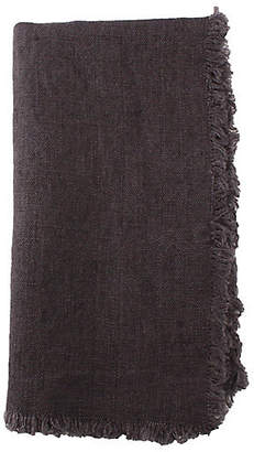 Canvas Set of 4 Fringed Linen Dinner Napkins - Brown