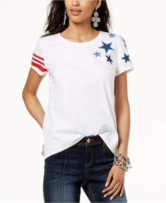 INC International Concepts I.n.c. Petites High-Low Stars and Stripe T-Shirt