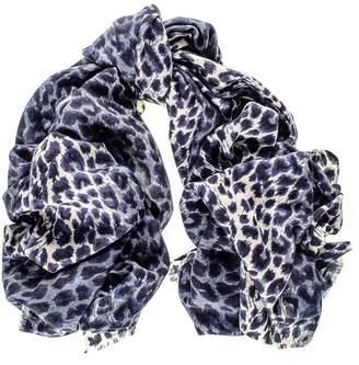 Black Navy Leopard Print Scarf-Silk and Wool