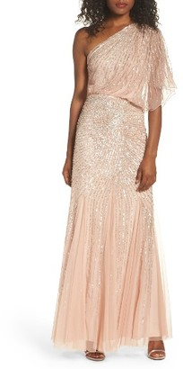 Women's Adrianna Papell Sequin One-Shoulder Gown $319 thestylecure.com