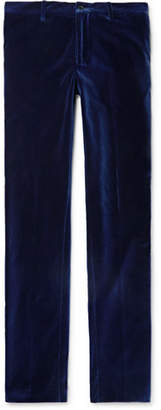 Etro Royal-Blue Slim-Fit Grosgrain-Trimmed Velvet Trousers