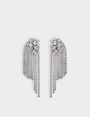 Helene Zubeldia Large Crystals Cascade Clip Earrings in Ruthenium and Crystals