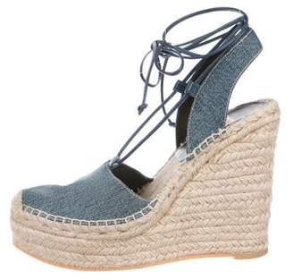 Saint Laurent Denim Espadrilles Wedges