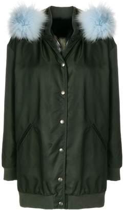 Mr & Mrs Italy detachable hood midi coat