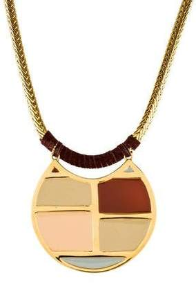 Lizzie Fortunato Enamel & Leather Pendant Necklace