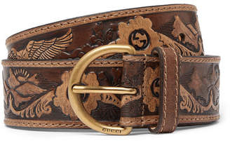 Gucci Brown Embossed Leather Belt - Tan