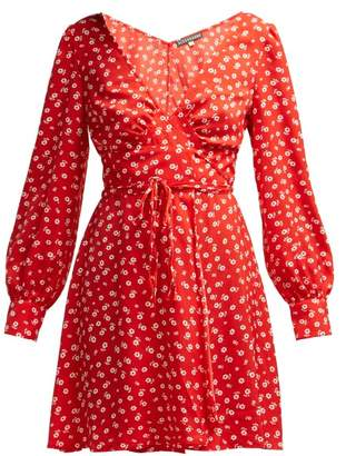 ALEXACHUNG Floral Print Crepe Wrap Dress - Womens - Red