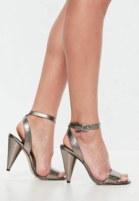 Missguided Silver Cone Heel Strap Heeled Sandals