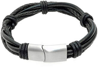 FINE JEWELRY Mens Black Leather Bracelet with Stainless Steel Magnetic Clasp