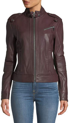 Andrew Marc Rego Button Detail Leather Moto Jacket