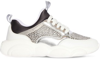Moschino 30MM EMBELLISHED MESH & LEATHER SNEAKERS