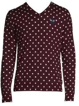 Comme des Garcons Black Heart Wool Polka Dot Sweater