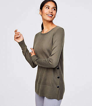LOFT Petite Side Button Tunic Sweater
