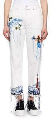 Alexander McQueen Needlepoint Embroidered Cropped Wide-Leg Jeans $2,545 thestylecure.com