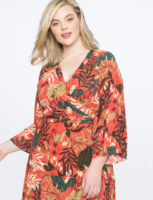 Flare Sleeve Maxi Wrap Dress