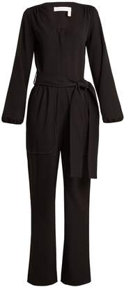 See by Chloe Long-sleeved stretch-crepe jumpsuit