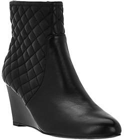 Judith Ripka Quilted Leather Wedge Ankle Boots- Everly