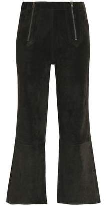 MiH Jeans Cropped Suede Flared Pants