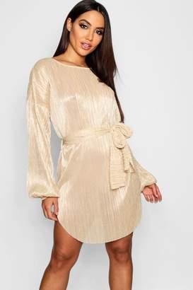boohoo Plisse Blouson Sleeve Belted Dress