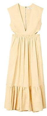 Tibi Women's Linen V-Neck Cutout Midi Dress - Size 0